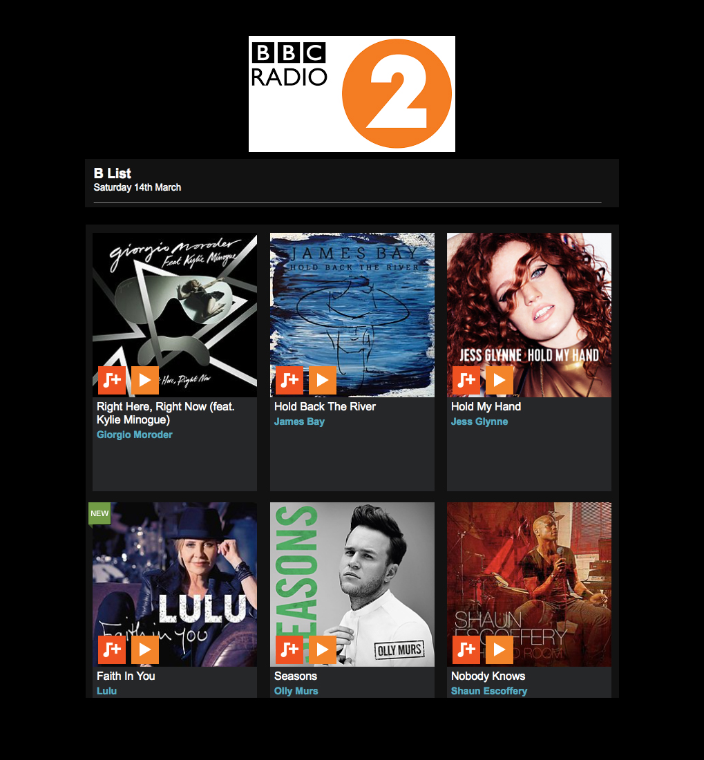 'Right Here, Right Now' added to the BBC Radio 2 Playlist!