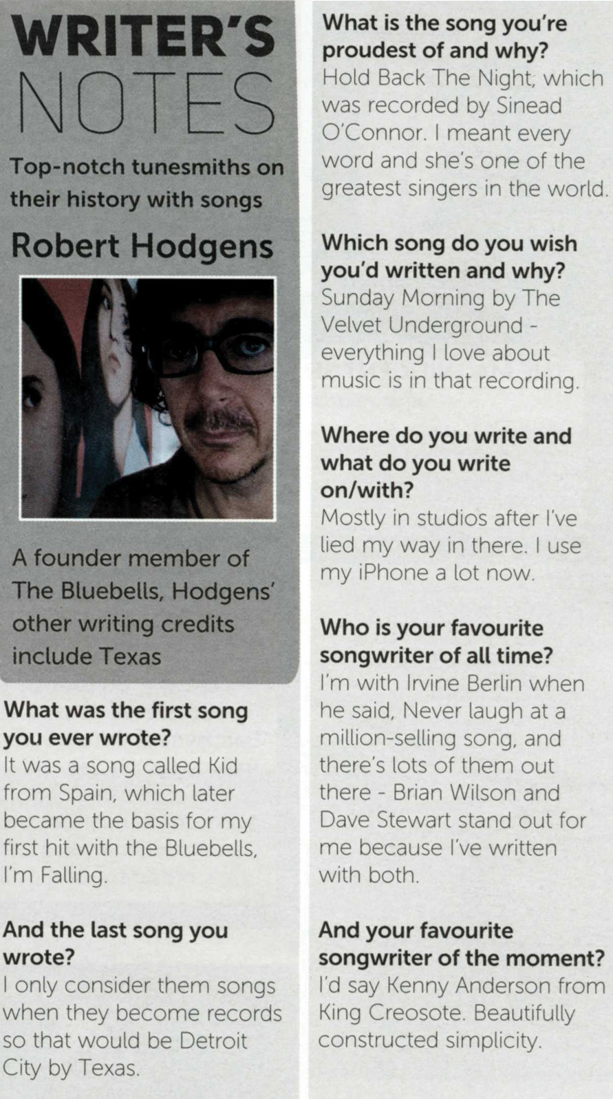 Robert Hodgens featured in Music Week