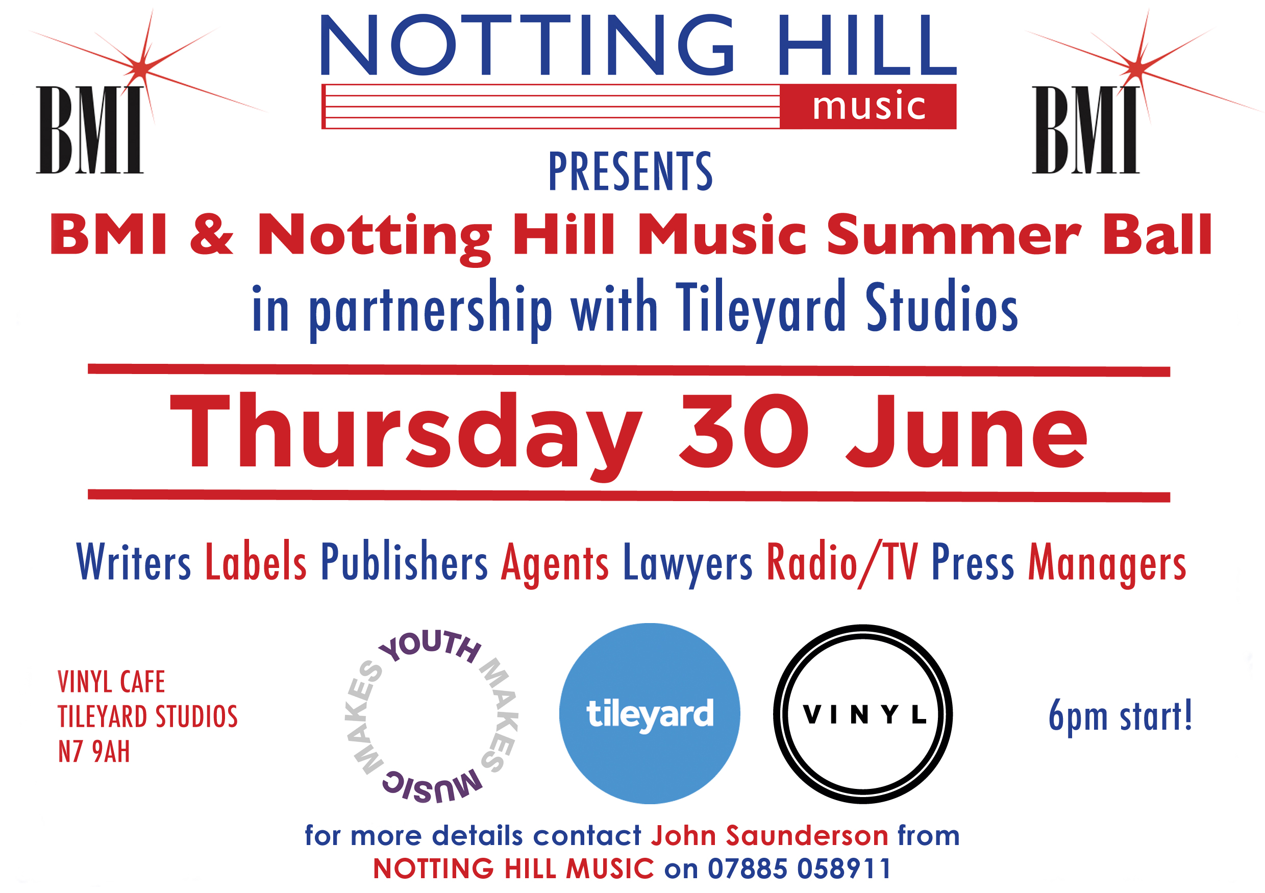 BMI & Notting Hill Music's Networking Evening – TOMORROW!