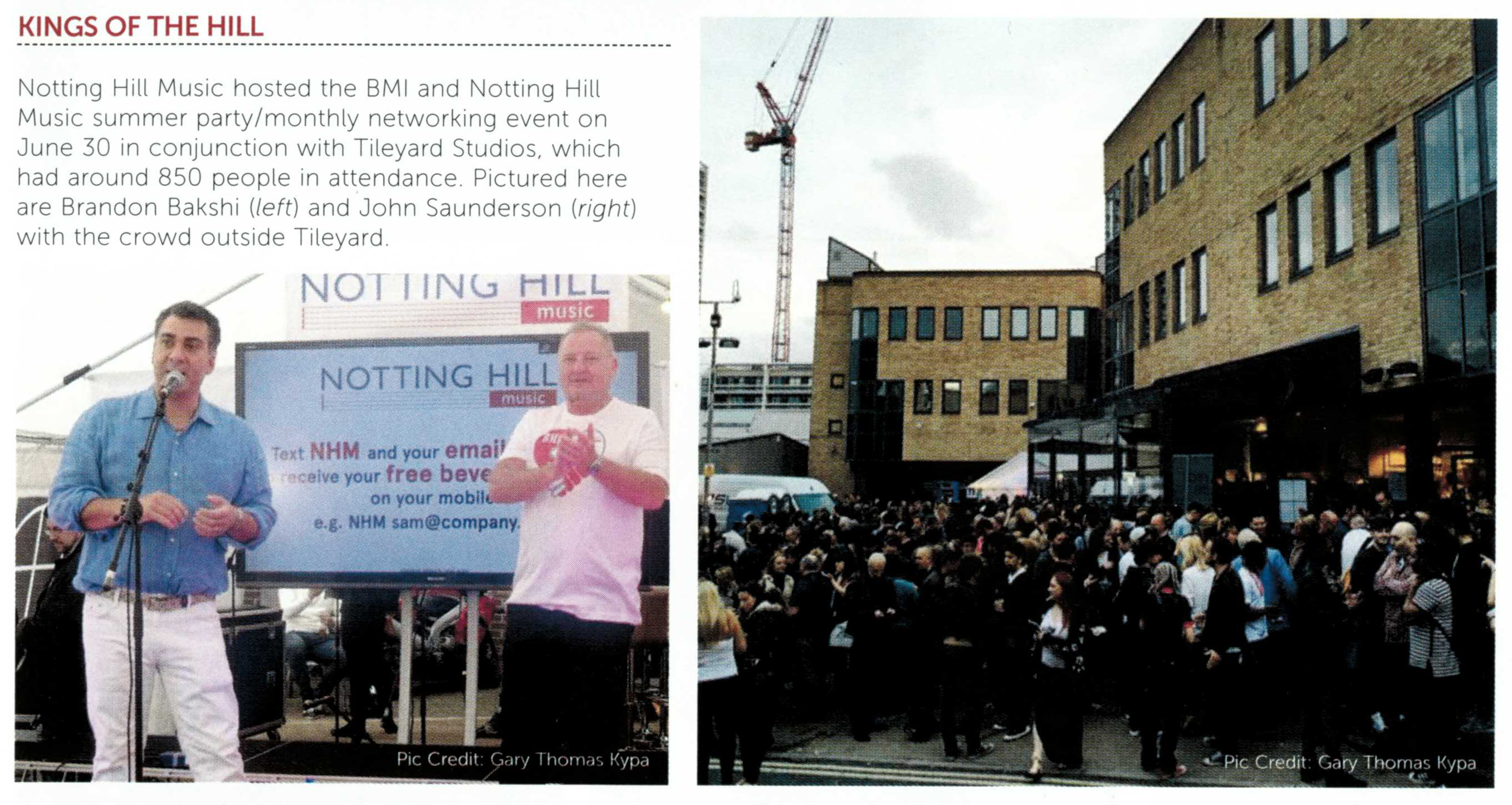 Notting Hill Music & BMI Summer event featured in Music Week
