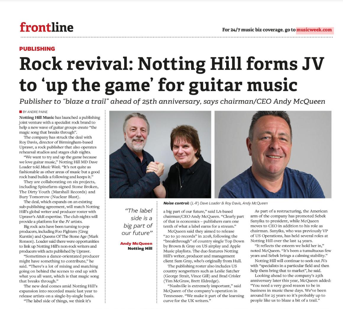 Music Week: Inside Notting Hill Music & Uprawr's new rock publishing JV