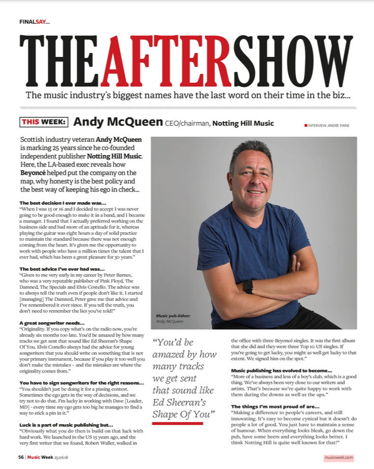 Our CEO/Chairman Andy McQueen Featured In Music Week