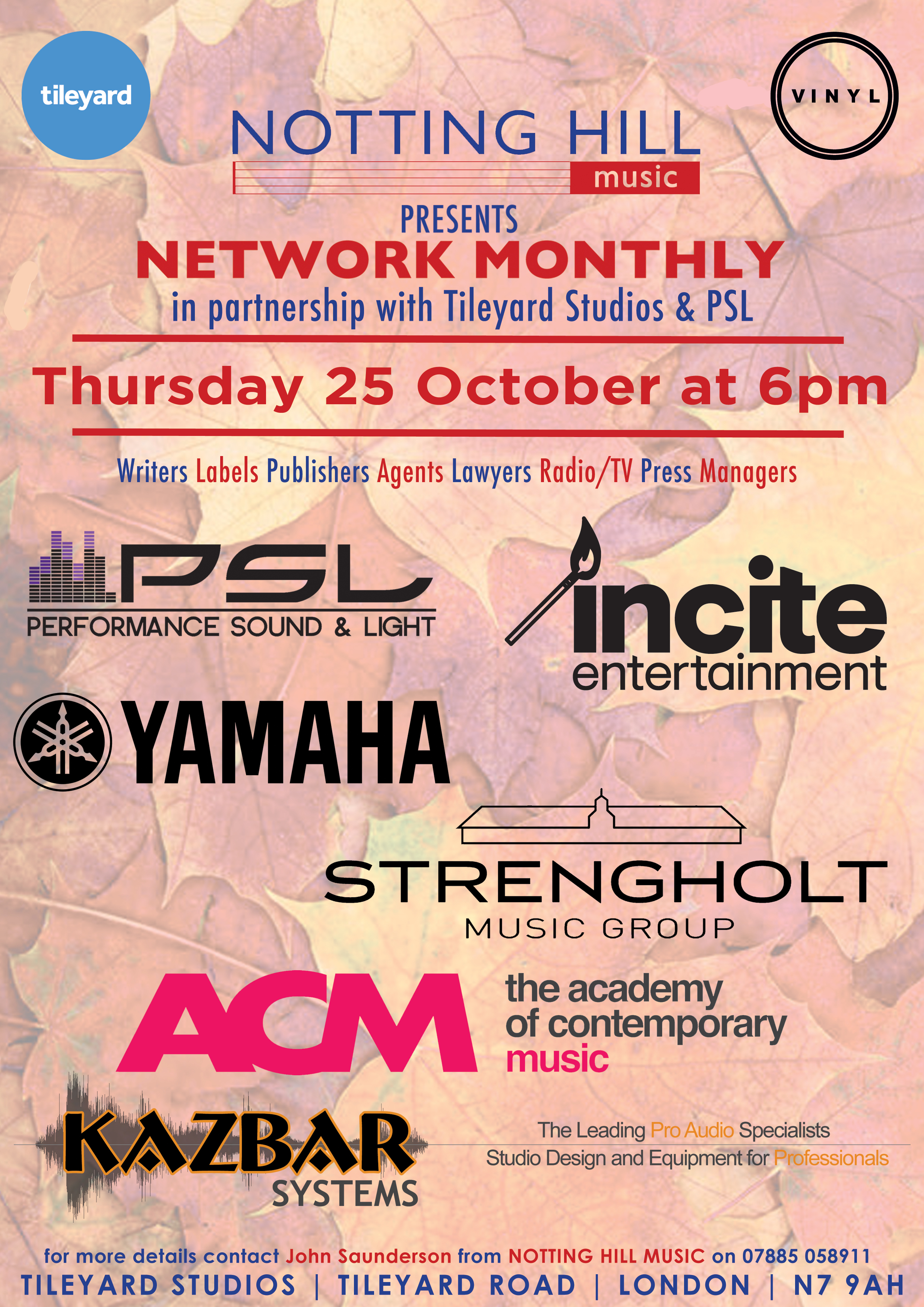 Autumnal Networking Event – 25 October at Tileyard Studios